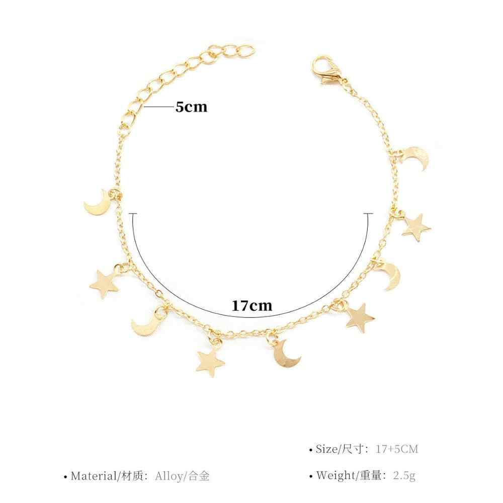 新ファッションゴールドカラームーンスター女性アクセサリーブレスレット 4 グラム