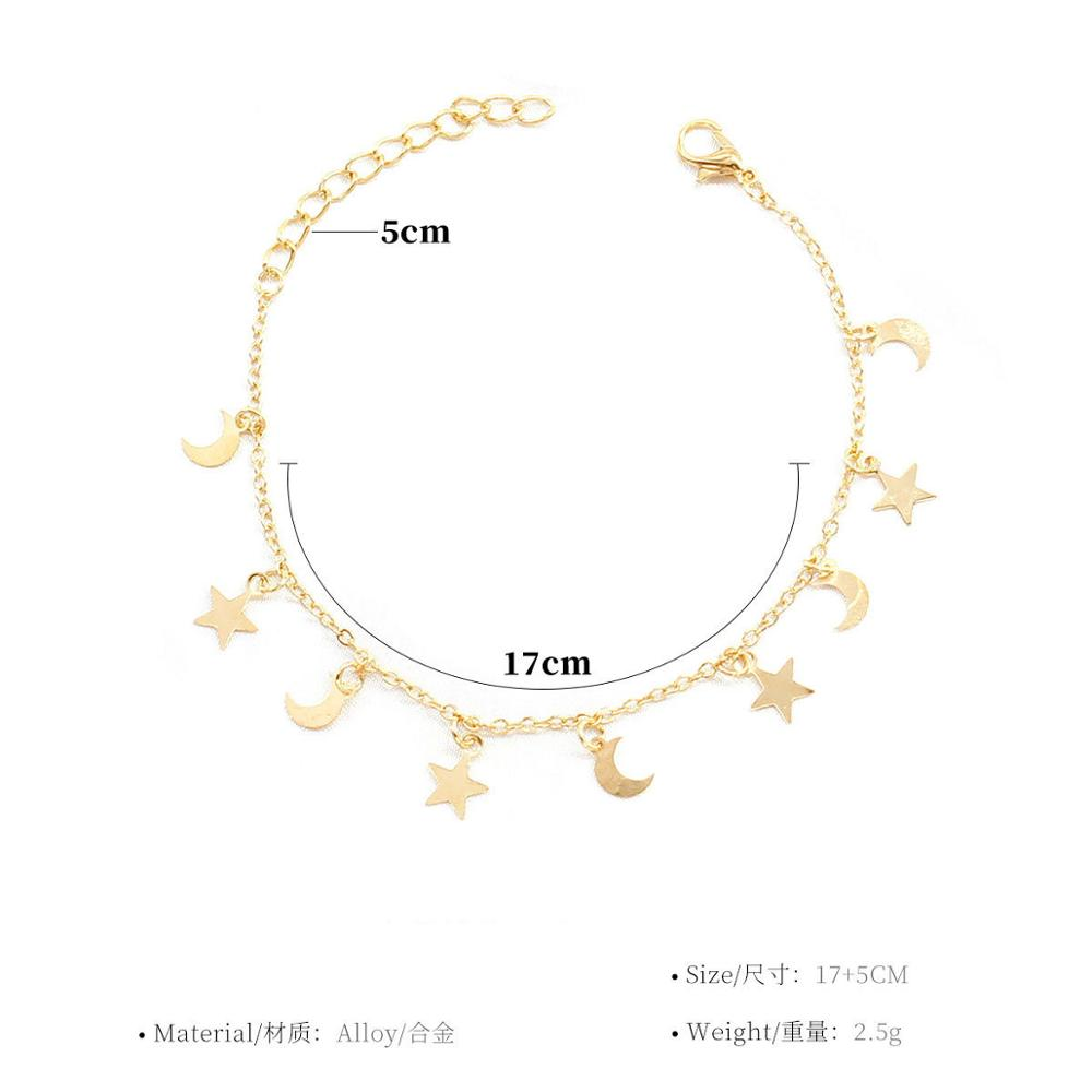 New Fashion Gold silver Moon Star Charms bracelet for Women Accessories Bracelets 4g 5