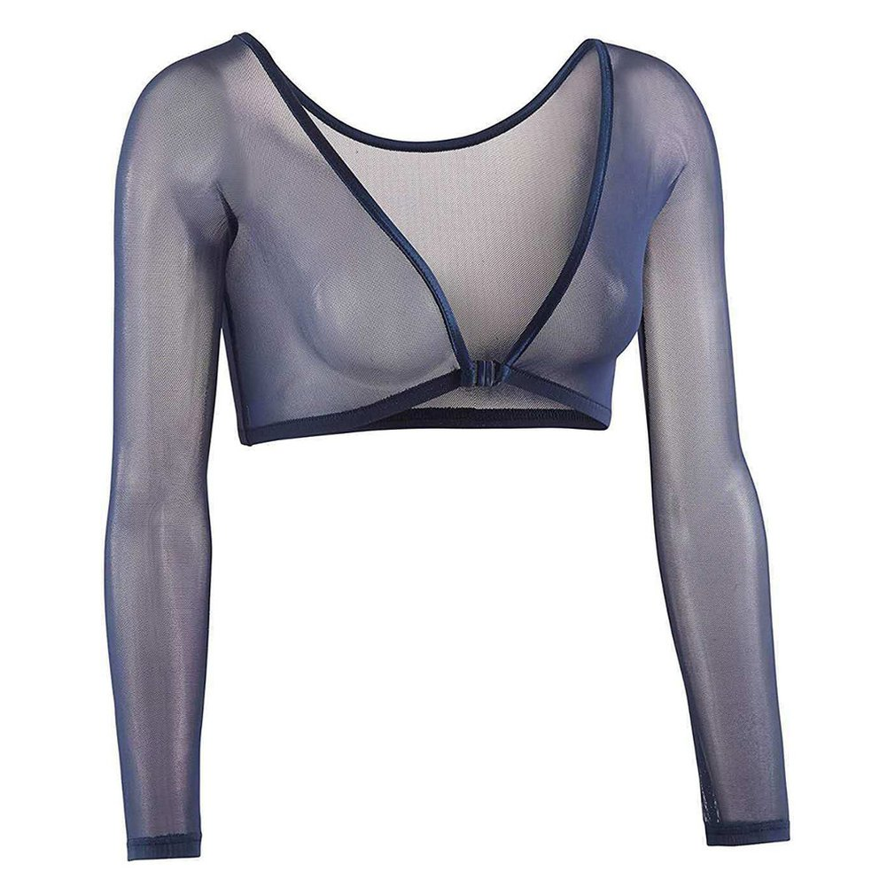 Invisible Seamless Arm Shaper T-Shirt Compression Mesh Chest Slim Upper Top Black White Fresh  Blue Color