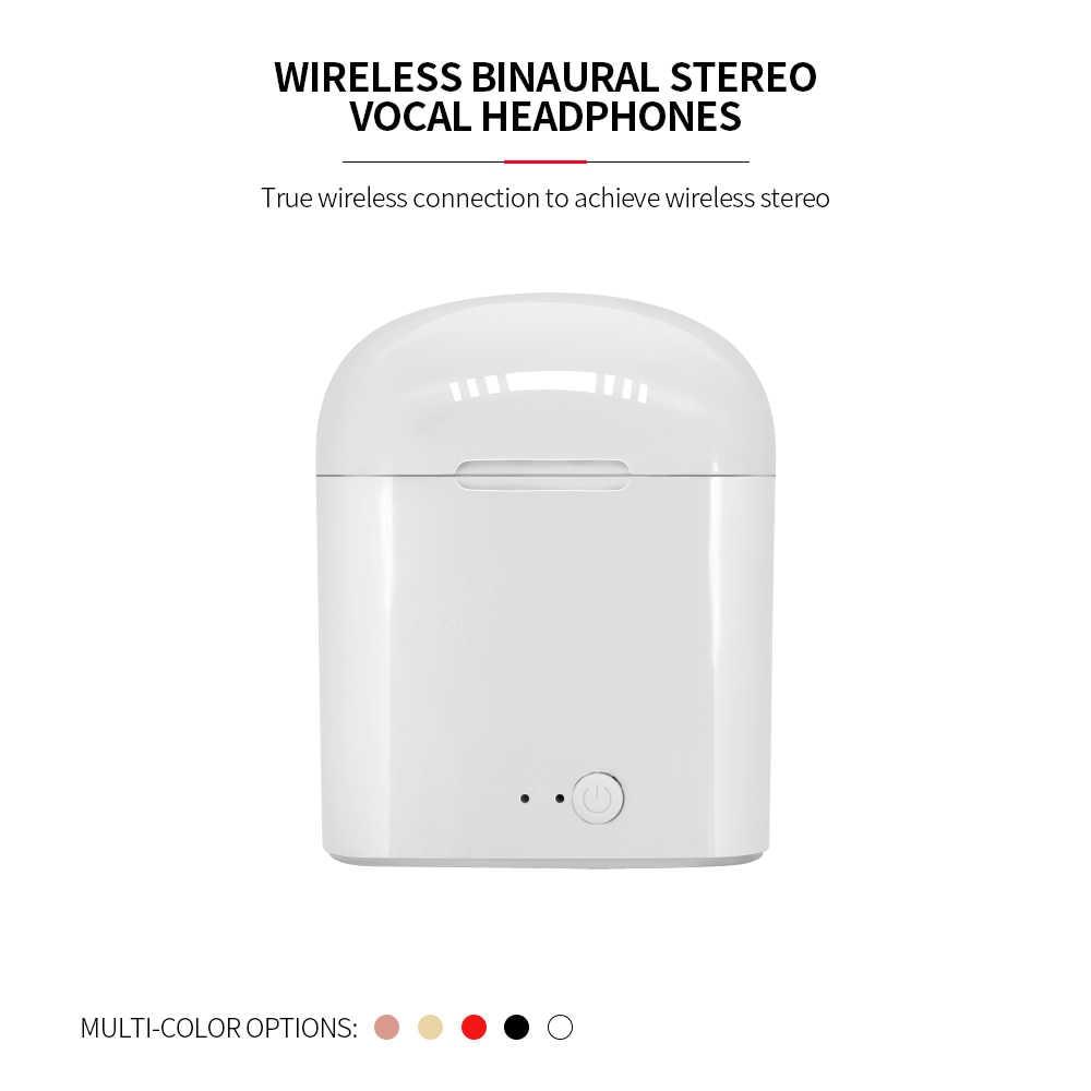 I7s Tws Bluetooth Earphone Stereo Earbud Bluetooth Headset dengan Pengisian Polong Nirkabel Headset untuk Semua Ponsel Pintar