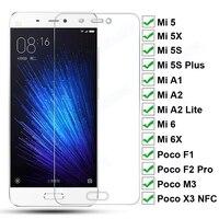 9H HD Schutz Glas Für Xiaomi Mi 5 5S Plus 5X 6 6X A1 A2 Lite Gehärtetem Bildschirm protector Poco F1 F2 Pro M3 X3 NFC Glas Film