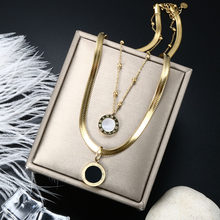 ZMFashion Women Layered Snake Chain Link Necklace Blade Chains With Black/White Shell Roman Numerals Pendant Sexy Choker Jewelry