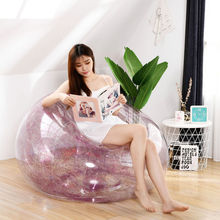 Transparent sequins inflatable home lazy sofa portable PVC outdoor folding sofa beach bed recliner