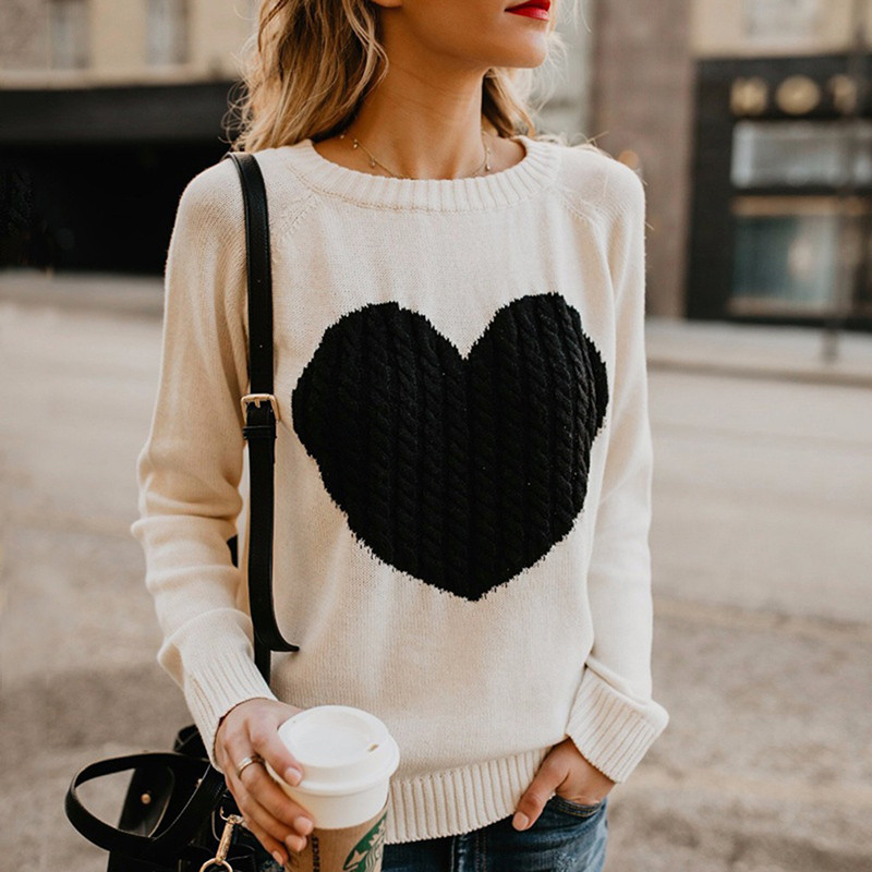 Autumn Winter Women Sweaters Heart Pattern Printed Long Sleeve Tops O-Neck Lovely Pullovers Knitted Loose Sweaters Tops 40