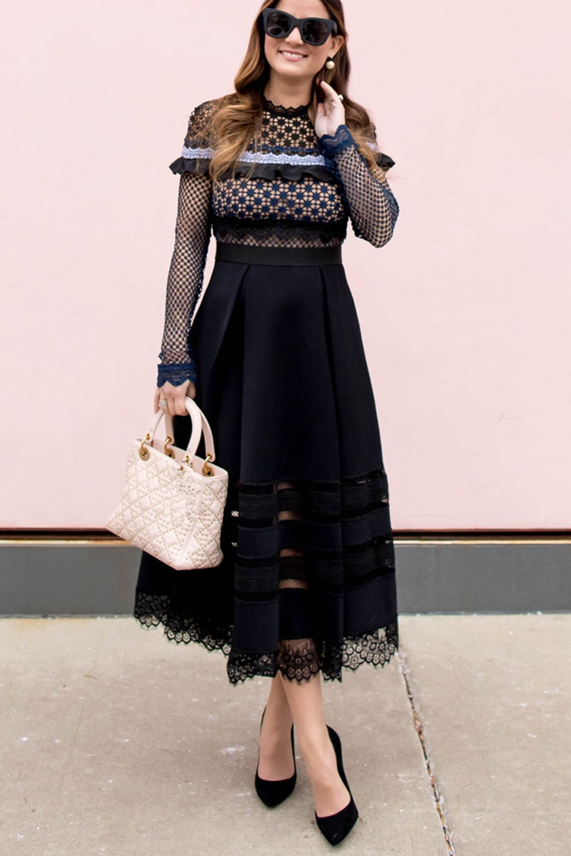 2019 Новое поступление высококачественное темно синее платье