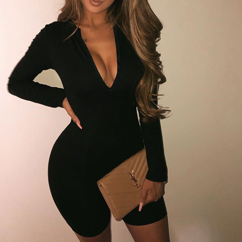 Ribbed Knit Autumn Romper Women Sexy V-Neck Playsuits Skinny Solid Bodycon Gray Black Women Jumpsuit Shorts Zipper Spring GV108