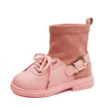 Girls Boots Exceed Fiber Leather Girl Princess Two Cotton Martin Boots Tide Botas Children Shoes(China)
