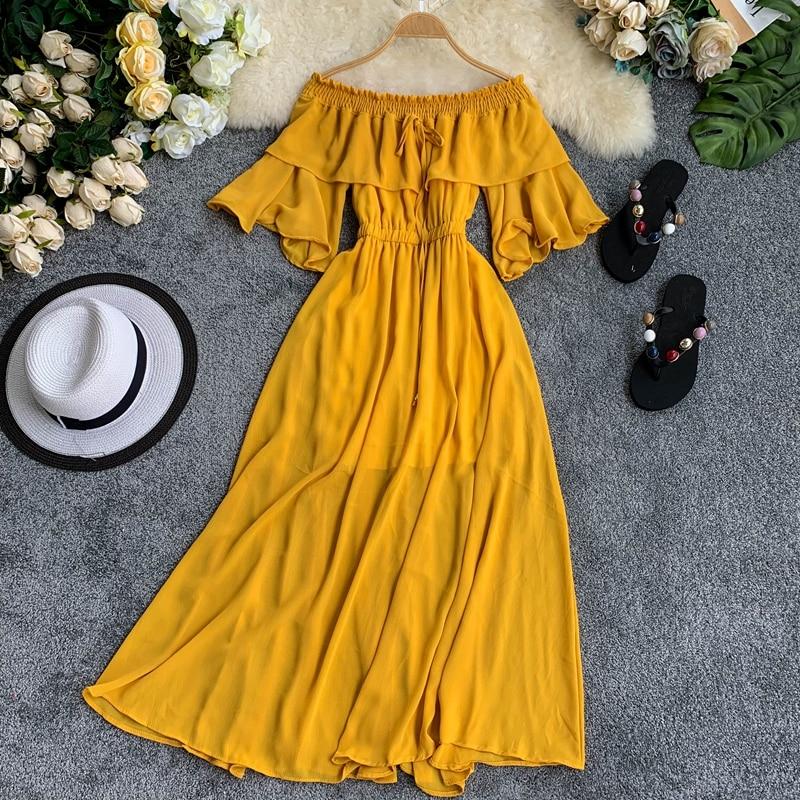 Women Slash Neck Flare Sleeve Casual Dress Lady Solid Color Spring Summer Solid Color Elegant Vestidos F630