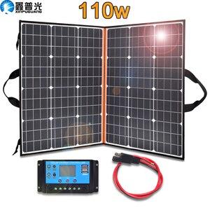 Xinpuguang 100 Вт 110 Вт Складная солнечная панель портативное солнечное зарядное устройство + 12 В/24 В 10 А контроллер для 12 В батареи USB power Bank