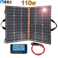 Xinpuguang 100 w 110 w Foldable Solar Panel Portable Solar Charger + 12 v /24V 10A Controller For 12 v Battery USB Power Bank