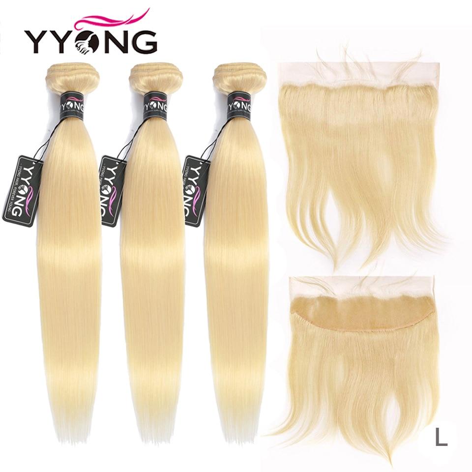 Mèches Lace Frontal brésiliennes avec Closure-Yyong, cheveux Remy naturels, lisses blond 613, lot de 4 pièces/lot