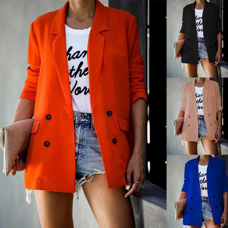 Autumn And Winter New Style Original Design Women's Suit Solid Color Long Sleeve Jacket Double Breasted Small Suit