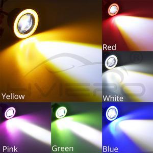 Image 2 - 2個64ミリメートル76ミリメートル89ミリメートルエンジェル · アイズcob led自動フォグランプ自動ユニバーサルデイタイムランニングライト白、赤、青ヘッドライト30ワットdc 12v