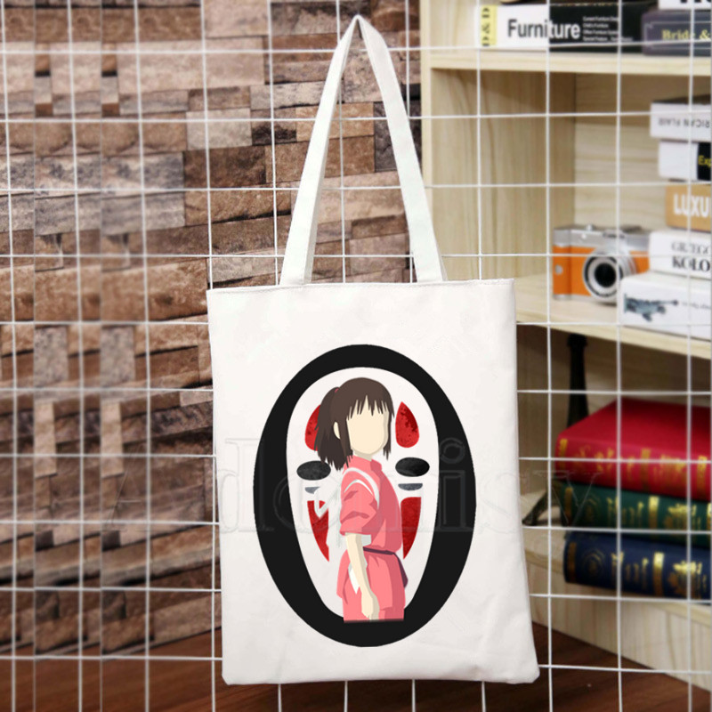 Miyazaki Hayao Anime Spirit Away New Arrives Art Canvas Bag Totes Simple Print Shopping Bags Girls Life Casual Pacakge