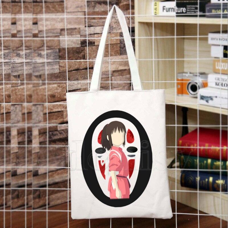 Miyazaki Hayao Anime Spirit Away New Arrives Art Canvas Bag Totes Simple Print Shopping Bags Girls Life Casual Pacakge