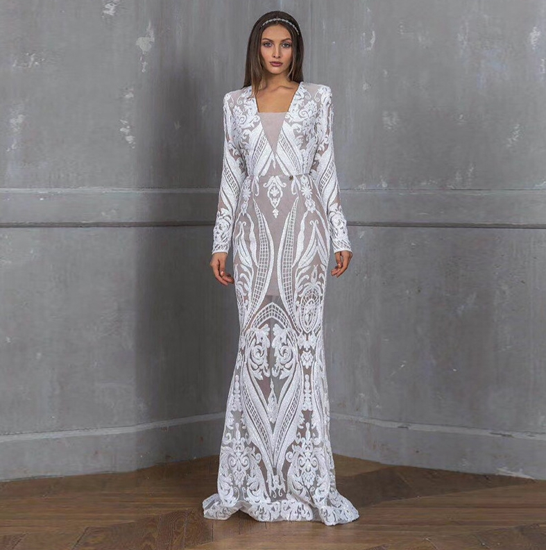 Vintage Lace Mermaid Wedding Dress Turkey Vestido de Novia Embroidery Sheer Bridal Gowns Robe mariee 2020 gelinlik casamento