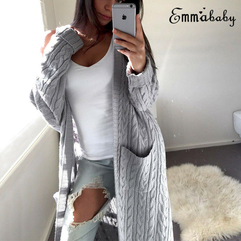 Fashion Women Baggy Long Sleeve Cardigan Coat Loose Tops Ladies Chunky Knitted Sweater Jumper  One Size Jacket Outwear