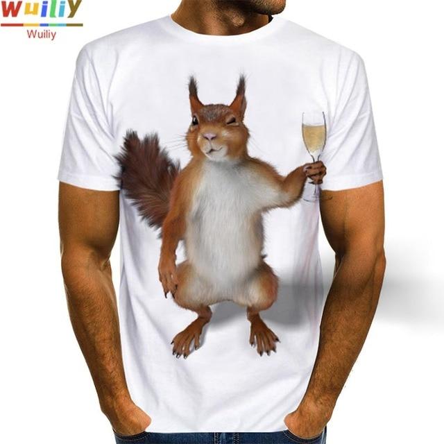 Men's Squirrel T Shirt 3D Print Shirt Animal Graphic Tees Lovely Pattern Tops Men/Women Cute Puppy Face Tee Funny Pet T-shirt 3