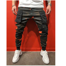 Men Cargo Pants Black Ribbons Block Multi-Pocket 2020 Harem Joggers Harajuku Sweatpant Hip Hop Casual Male Trousers