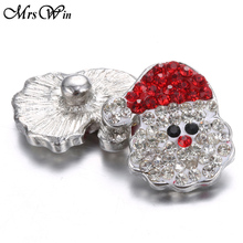 6pcs/lot New Christmas Snap Button Jewelry Metal Rhinestone Santa Claus 18mm Buttons Lots Fit Bracelet Necklace
