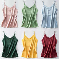 Camisole Spaghetti Strap V Neck Tops Women Halter Summer Plus Size Sleeveless Women'S Satin Top Silk