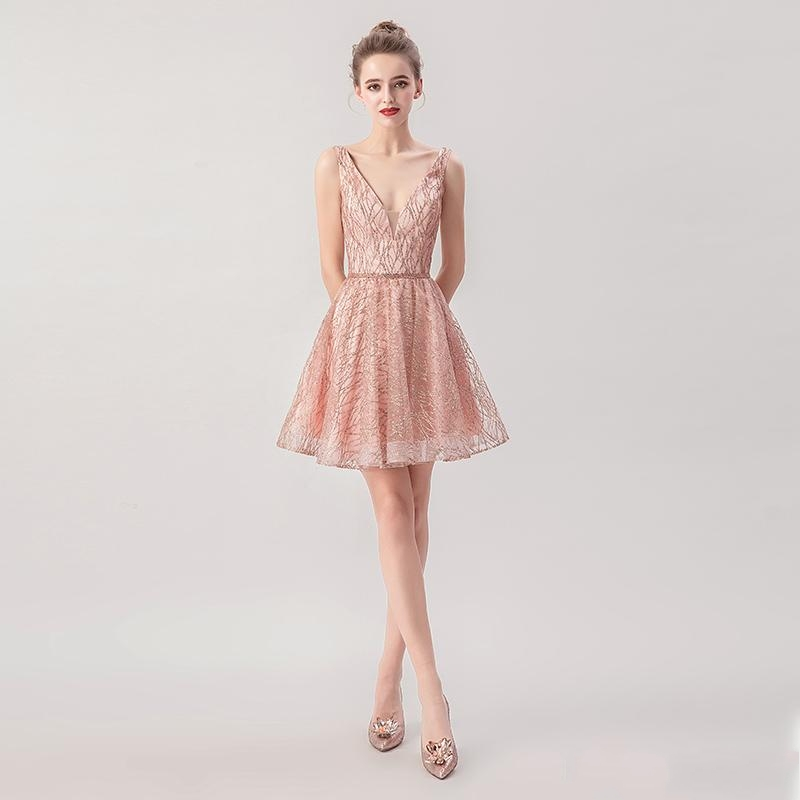 Rose Short Lace A-line Homecoming Dresses Lace Formal Prom Gowns V-neck And Backless Special Occasion Dresses Cocktail Dress