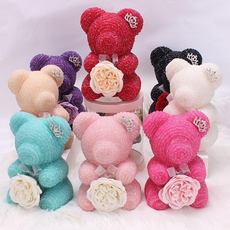 Dessin animé Rose ours anniversaire fête de mariage cadeau cristal diamant Rose ours avec émulé immortel fleur romantique Valentine cadeau