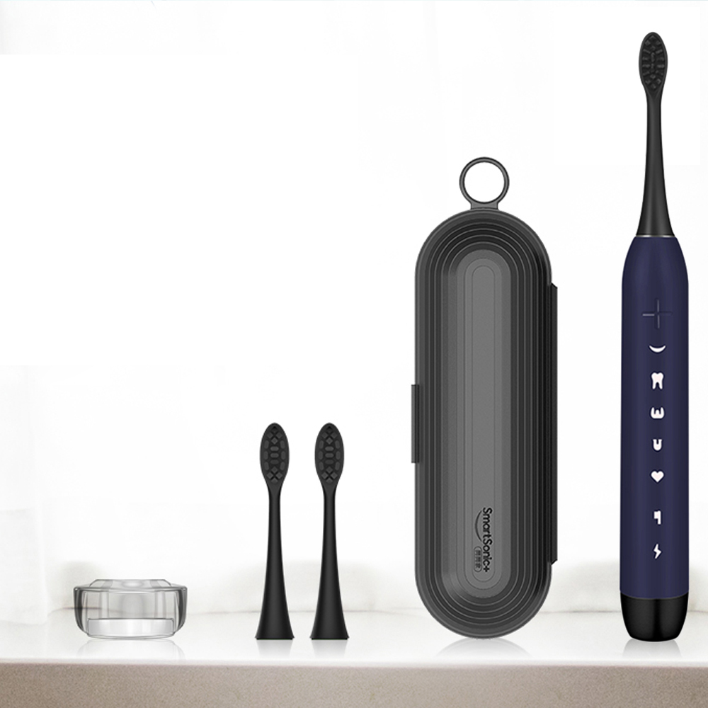 SmartSonic Waterproof Sonic Electric Toothbrush USB Rechargeable Tooth Brush Ultrasonic Toothbrush with 2 Brush Heads