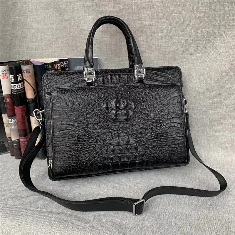 Authentic Exotic Crocodile Skin Zipper Closure Businessmen Laptop Briefcase Bag Genuine Alligator Leather Male Large Handbag