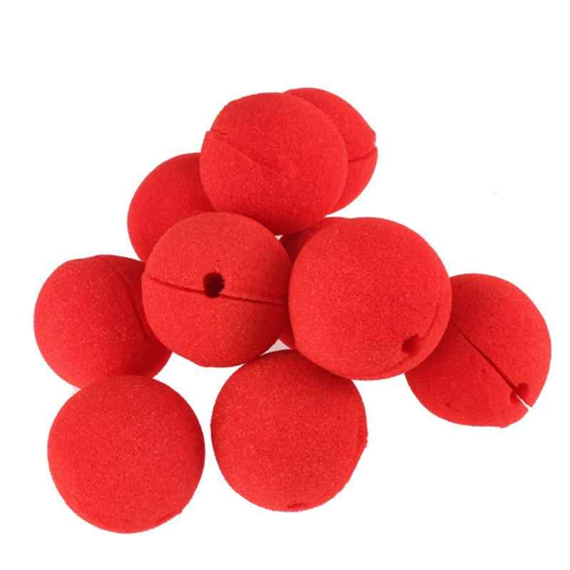 10Pcs/Lot Red Ball Sponge Clown Nose Adorable Foam Circus Clown Magic Halloween Costume Party Decoration Set Dress Accessories