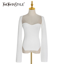 TWOTWINSTYLE Knitted Sweater For Women Square Collar Long Sleeve Irregular Hem S