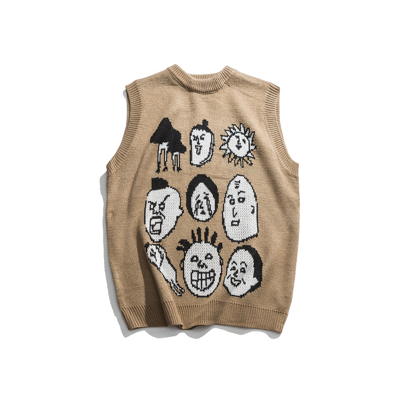 Japanese Harajuku Knitted Graphic Vest For Men And Women Urban Streetwear Knit Ukiyo-e Pullover Sweater Vest Plus Size