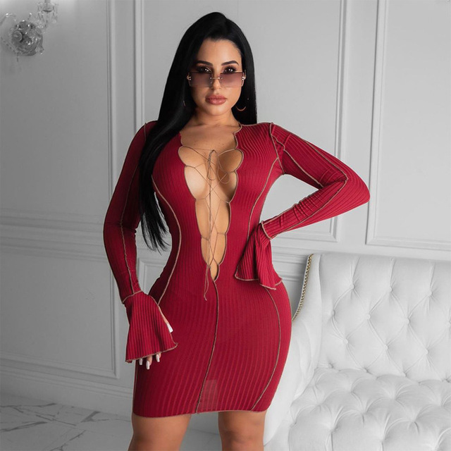 Simenual-Vestido corto acanalado con cuello de pico profundo para mujer, vestidos Bodycon de manga larga, ropa de fiesta Sexy de retales, Moda Para otoño 3