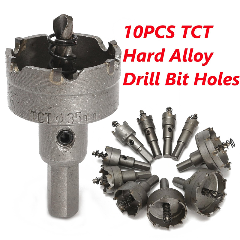 10 Pcs Alloy Metal Stainless Steel Carbide Tip Drill Bit Holes Durable Hole Saw Set Power Tools Portable