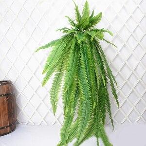 Image 4 - 140cm tropical planta de suspensão grande artificial samambaia grama bouquet folhas de plástico folha verde parede falso ramo árvore para decoração casa
