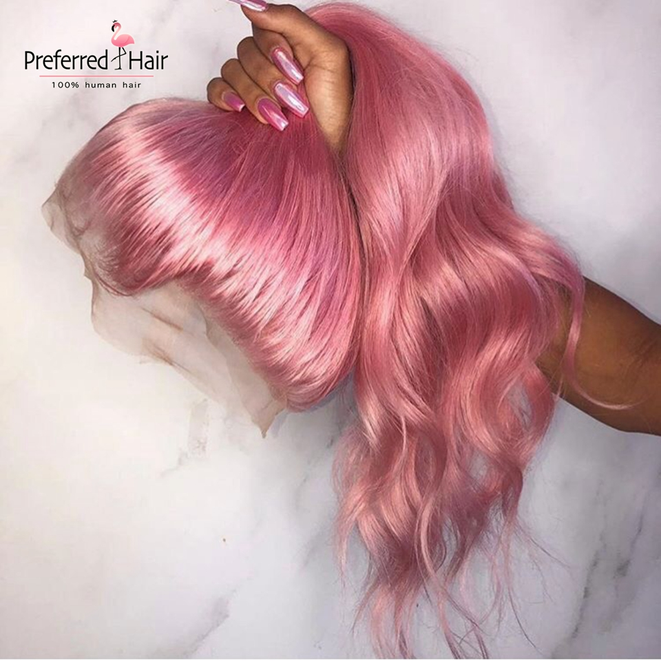 Preferred Remy Brazilian Full Lace Wig Pink Color Transparent Lace Wigs Preplucked Ombre Lace Front Human Hair Wigs For Women