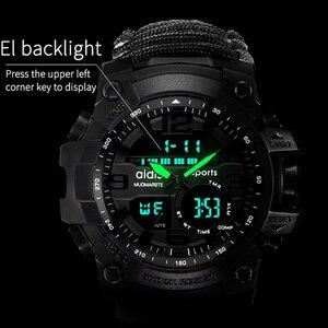 Image 3 - Addies Military Watch con Bussola Uomini Tendono Impermeabile Whistel Cronometro Sveglia Sport orologio Digitale Orologio Da Polso montre homme