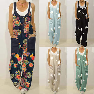 Unigds Womens Casual Overall Cotton Linen Button Strap Pants Jumpsuit Romper