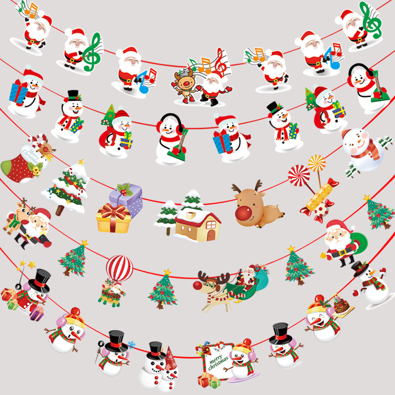Merry Christmas Hanging Decor Snowman Santa Claus Elk Sock Banner Decor Supplies