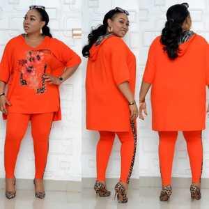 Комплект одежды в африканском стиле для женщин размера плюс с коротким рукавом и капюшоном, Раздельный топ и леопардовые штаны в стиле пэчв...