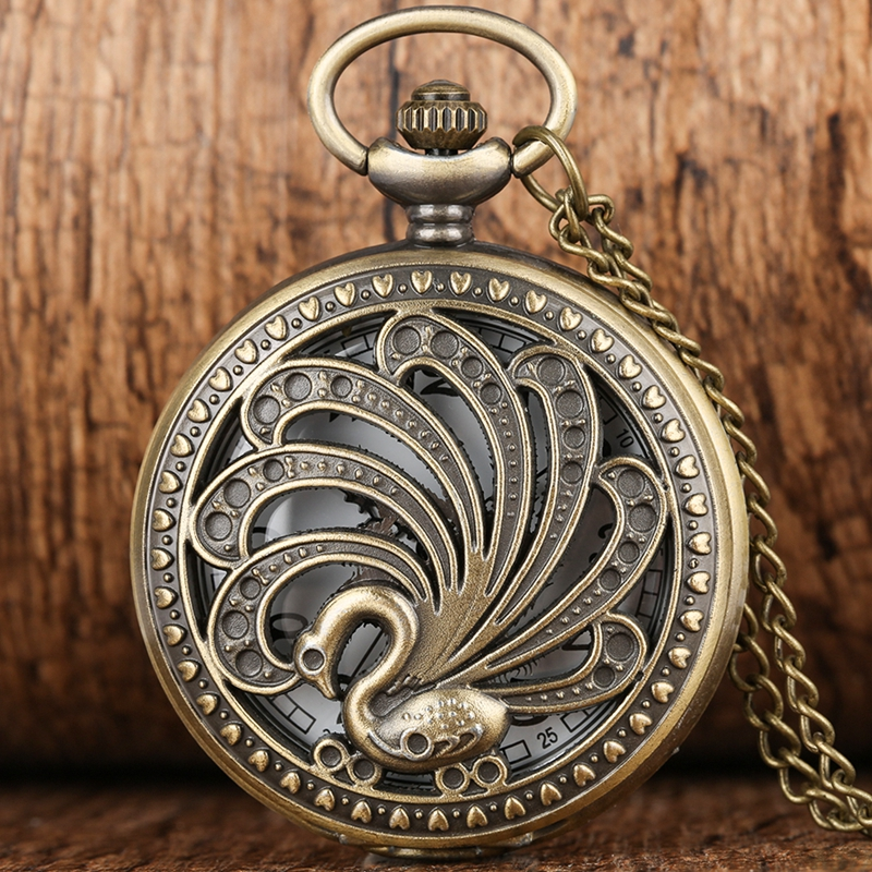 Antique Peacock Quartz Pocket Watch Retro Style Hollow Beauty Necklace Pendant Creative Gift Animal Watch Art Collectibles Reloj