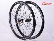 700C 탄소 허브 40MM Wheelset 뜨거운 판매 2018 bmx 도로 자전거 바퀴 알루미늄 합금 반지 바퀴 브레이크 V 도로 자전거 우주