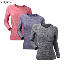 VEQKING Women Long Sleeve Yoga Shirt,Segment Dyeing Quick Dry Workout Sport Shirt,Compression Running Gym T-shirts Fitness Top(China)