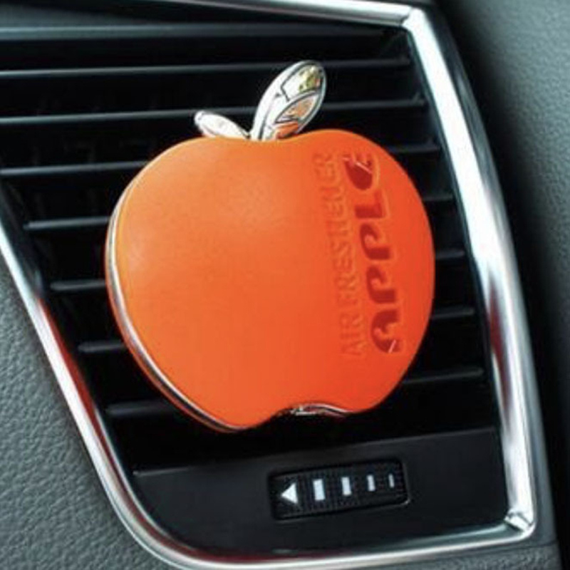 6 Colors Cute Car Perfume Clip Auto Interior Fragrance Car Air Freshener Outlet Perfume Scent Interior Decoration Apple Shape