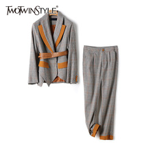 TWOTWINSTYLE Plaid Casual Two Piece Set For Women V Neck Long Sleeve Sashes Tops High