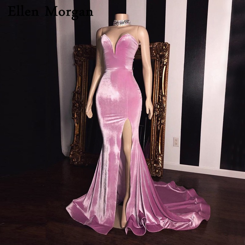 Pink Velvet Mermaid   Prom     Dresses   for Women Wear 2019 Floor Length Sexy V Neck Court Train Real Photos Split Long Party Gowns