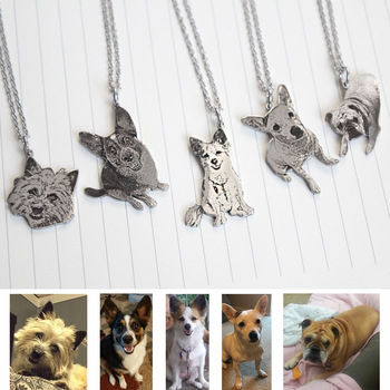 Custom Necklace Photo Stainless Steel Engraved Necklace Dog Tag Necklaces Personalized Name ID Memorial Photo Pendant Jewelry custom dog tag photo keychain stainless steel engraved photograph text diy key chain for love dog keepsake