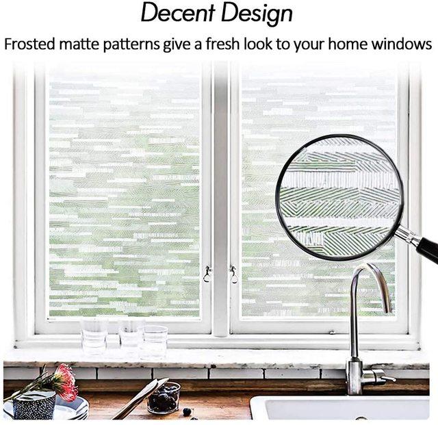 LUCKYYJ Privacy Window Glass Film Frosted Matte Window Sticker Static Cling Door Film Self-adhesive Anti-UV Window Glass Sticker
