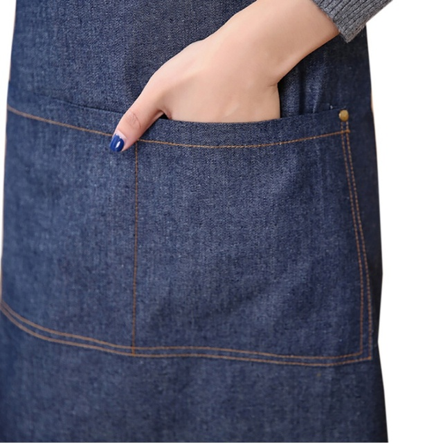 100% cotton Hot Antifouling Aprons Unisex Uniform Denim Cowboy Simple Chef Cooking Aprons for Women  Kitchen Apron 4