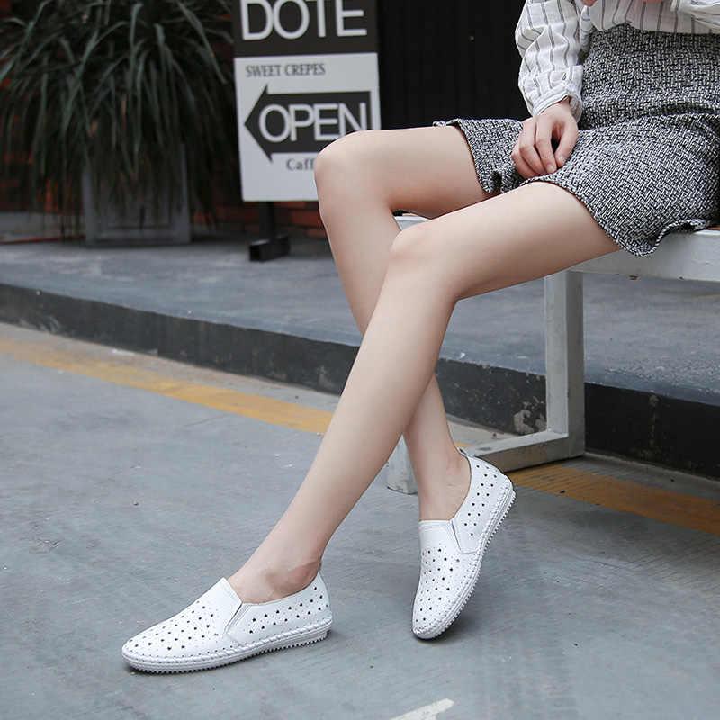 Da Thật Chính Hãng Da Đế Bằng Nữ Trắng Giày Rỗng Ra Nền Tảng Thời Trang Mùa Hè Giày Người Phụ Nữ Slip On Sneakers Nữ